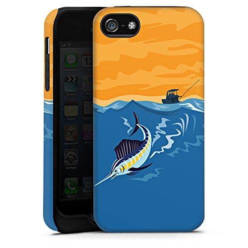 Apple iPhone X Silikon Hülle Case Schutzhülle Schwertfisch Angeln Fisch Tough Case matt