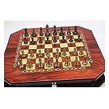 Yyqx Échecs Métal Brillant Vintage Or Placage des pièces d'échecs en Bois Massif Échiquier High Grade Jeux d'échecs Professionnels Set Cadeaux Jeu d'echecs