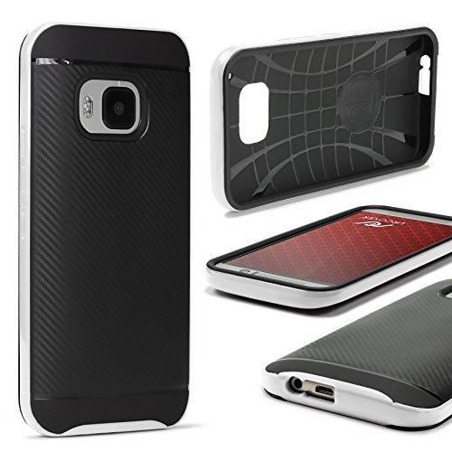 URCOVER Custodia Protettiva HTC One M9 | Back Cover Rigida Carbon Style + Bumper Antishock | Armor Case Ibrida in Bianco