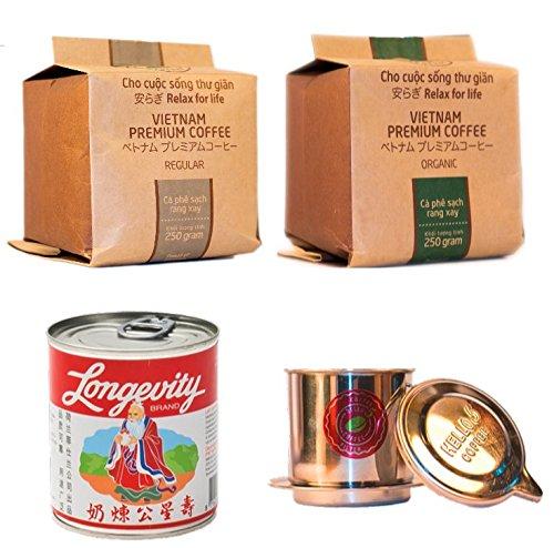 Vietnamesisches Kaffee Starterset - 2 x 250g + Filter (Phin) + gez. Kondensmilch - Hochwertige Kaffeebohnen aus dem Hochland von Da Lat - Röstung Kaffee-bohnen Dunkle Bio