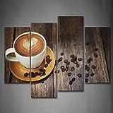 Marrone caffè Con Cuore Modello In bianca Tazza Pittura di arte della parete La stampa su tela di canapa Cibo Quadri d'illustrazione per l'ufficio domestico Decorazione moderna