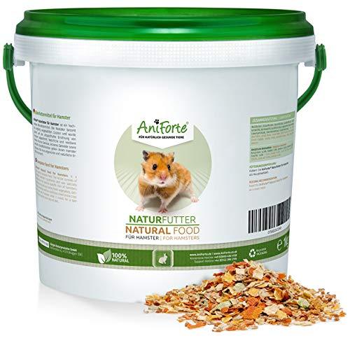 AniForte Natur-Futter für Hamster 1kg, Hamsterfutter speziell für Gold-Hamster, Zwerg-Hamster und Teddy-Hamster, Natürliches Alleinfuttermittel mit Bachflohkrebsen, leckerem Gemüse und Kräuter