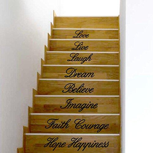treppen aufkleber spruch Live Laugh Love Dream Glauben Imagine Faith Mut Hope Happiness Aufkleber entfernbare Wandaufkleber Treppen Decor Dekor