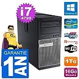 Dell PC Tour 9020 Intel Core i7-4790 RAM 16Go Disque Dur 1To Windows 10 WiFi (Reconditionné)