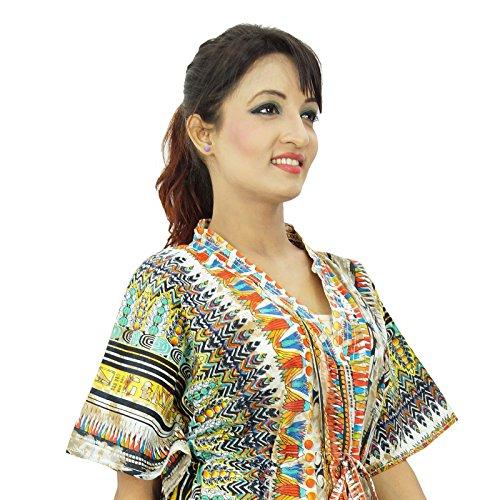 Indianbeautifulart -  Vestito  - Kimono - Floreale - Donna Mehrfarben-