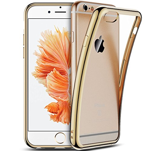 iPhone 6S Plus Hülle, iPhone 6 Plus Tasche, Coodio Chrome Plating Bumper TPU Handyhülle Case für iPhone 6S Plus Tasche Schutzhülle Silikon Cover Durchsichtig für iPhone 6S Plus / 6 Plus - Jet Schwarz Goldene