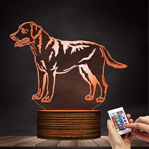 ZCLD 3D Labrador Retriever Dog LED Nachtlicht 3D Illusion Lampe Benutzerdefinierte Hund Name Schreibtischlampe Dekorative Beleuchtung 16 Farbwechsel Lichter mit Acryl Flat & Holz Base & USB-Kabel - Base-dekorative Licht-lampe
