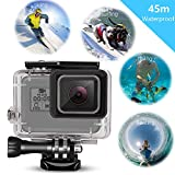 GoPro Hero 5 Impermeabile Custodia, Wineecy Custodia Protettiva Impermeabile Include Supporti e Viti per GoPro Hero 5 Action Camera(Sport-Subacquea 45 Metri) (Gopro Hero 5 Waterproof Case)