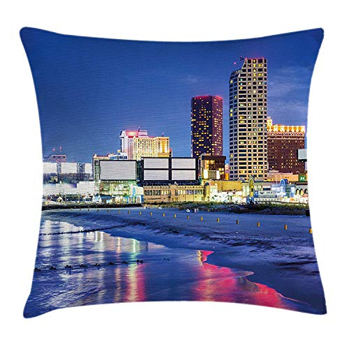 City Throw Pillow Cushion Cover, Resort Casinos on Shore at Night Atlantic City New Jersey United States, Decorative Square Accent Pillow Case, 18 X 18 Inches, Violet Blue Pink Yellow