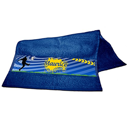 Handtuch mit Namen Maurice und schönem Fussball-Motiv für Jungs -