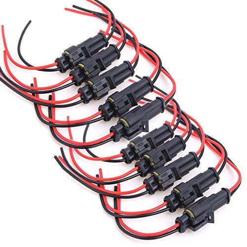 20x 1,5mm 2-Pin KFZ Steckverbinder Flachstecker Connector Stecker Wasserdicht