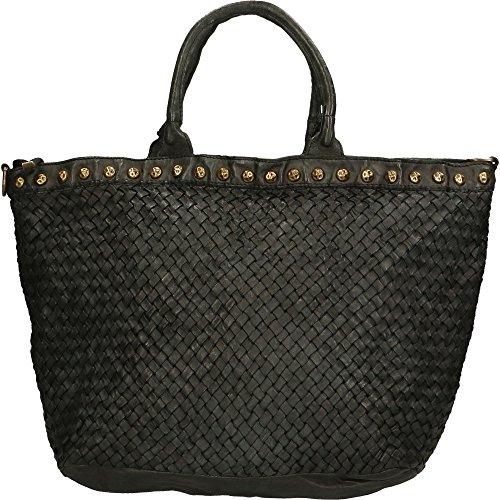 Sac à main femme Chicca Borse Vintage En cuir tressé authentique Made in Italy 48x30x15 Cm