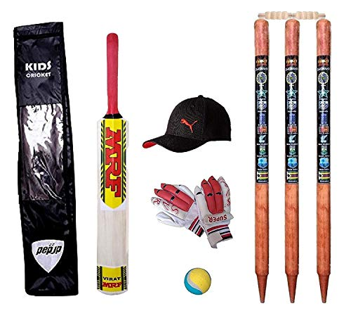 e-YOP Small Boys Cricket Set, Wooden Cricket Kit with Carry Bag