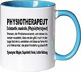 Mister Merchandise Kaffeebecher Tasse Physiotherapeut Definition Geschenk Gag Job Beruf Arbeit Witzig Spruch Teetasse Becher Weiß-Hellblau