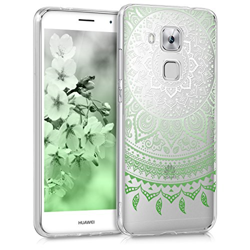 kwmobile Huawei Nova Plus Hülle - Handyhülle für Huawei Nova Plus - Handy Case in Grün Weiß Transparent