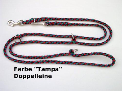 Hundeleine Doppelleine 2,80m 4fach verstellbar 4farbig - schwarz-blau-rot-grün