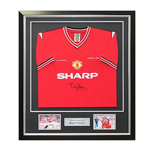 Bryan Robson Signed Manchester United 1985 FA Cup Winners Football Shirt. In Deluxe Black Frame With Silver Inlay