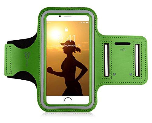 "MyGadget Sportarmband Hülle - Jogging Case Armband für 6.0\"" Display Fitness Sport Armtasche für Apple iPhone XS X 8 Plus 7+ 6+, Galaxy S10 S9 - Grün"