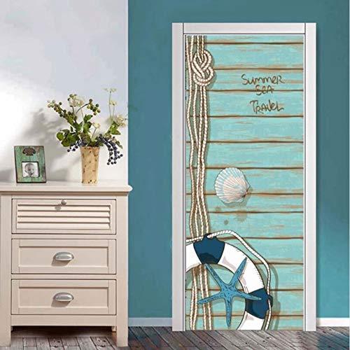 3D Rettungsring Wohnkultur Aufkleber Selbstklebende Pvc Tür Aufkleber Für Wohnzimmer Schlafzimmer Einfache Wasserdichte Wandbild Papier 91.4X213Cm