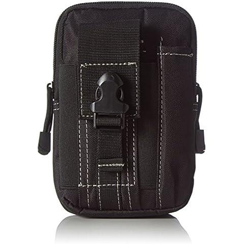 Aodoor Bolsa compacta MOLLE EDC de táctico, la capacidad grande para uso al aire libre Phone bolsa, de multiusos al aire libre con el mosquetón de aluminio gratuito de extra(Negro)
