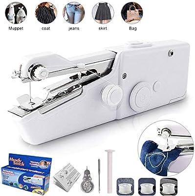 Mini Máquina de Coser de Mano para Diferentes Materiales de confección y Manualidades, máquina de Coser portátil para Uso doméstico o en Viajes