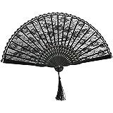 Folding Hand Fan Bamboo Lace Fan Wedding Party Favor (Black)