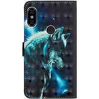 sinogoods para Xiaomi Redmi Note 5 Pro Funda, Cuero De La PU Magnético Capirotazo Billetera Apoyo Bumper Protector Cover Funda Carcasa Case - Lobo