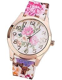 Malloom mujeres dama nuevo retro Impreso Flor silicona reloj Relojes de rosa caliente