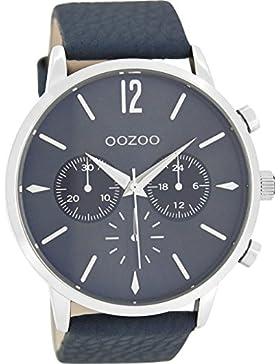 Oozoo Herrenuhr mit Lederband 48 MM Blaugrau/Blaugrau C8518