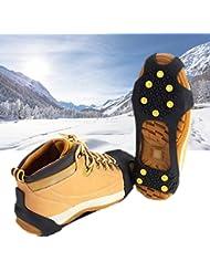 Soumit® Universal Ligero Anti Slip Invierno Hielo Tracción Nieve Hielo Pinzas Grapas Crampones TPE Negro Convenientes para Deporte de al Aire Libre Senderismo Caminando L