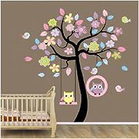 Blansdi - Adhesivos de pared, diseño infantil de árbol y pájaros