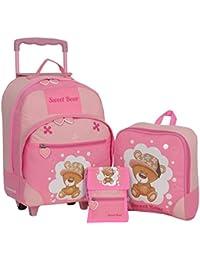 Keanu Kindertrolley 3er SET Reisegepäck stabil, höhenverstellbarem Griff, Reißverschlussfach, Reisekoffer Rucksack Brustbeutel