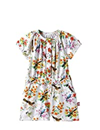 Nino Bambino 100% Pure Cotton Short Sleeves Round Button Closure Neck Multicolor Digital Floral Printed Jumpsuit for Baby Girls with Pockets