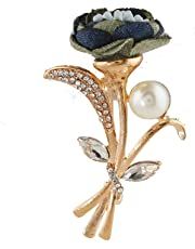 30bc935c1b7 Anuradha Art Blue Colour Flower Styled Designer Brooch/Saree Pin for  Women/Men