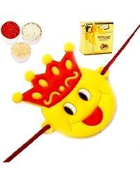 Ghasitaram Gifts Rakhi Chocolate Rakhi For Brother Kids Rakhis - Smiley Crown Rakhi With Chocolate Box