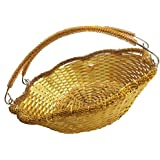 RAAYA Decorative Trays And Baskets For Gift Purpose, Big Gold, 2 Pcs, Pack Of 1 (Model No - 11296)