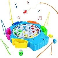 Juegos de Mesa de Pesca Musical 21pcs Peces Juguete con 6 Cañas de Pescar Juguetes Educativos para 3 4 5 Niños, Entrega al Azar de Color