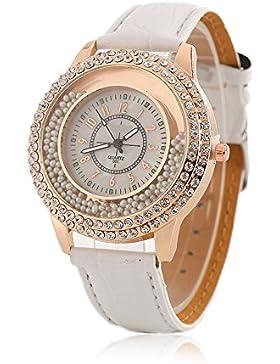 Frauen Fashion Designer Quartz Uhr mit Weiß Leder Band Damen Strass Armbanduhr Diamant–Kristall Kreis Driften...