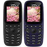 GLX W22 Pack Of 2 Dual Sim Basic Feature Mobile Phone (Black+Blue)