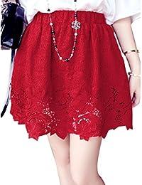 sourcingmap® Women Stretchy Waist Crochet Flower Design Skirt