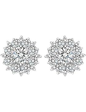 Clearine 925 Sterling Silber Cubic Zirconia Blume Elegant Bling Charmant Hochzeit Braut Ohrringe Ohrstecker Klar