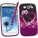 Samrick Étui en hydro gel protecteur avec protection d'écran, chiffon en microfibre et mini-stylet pour écran capacitif pour Samsung Galaxy S3 i9300/LTE 4G Noir/rose/violet avec motifs cœur et fleurs