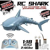 MezoJaoie [2020 actualizado] RC Boat para adultos, 2.4G Simulación Control remoto Shark Boat Toy, RC Fish Shark Toys 4 canales RC Boats para adultos KidsToy azul