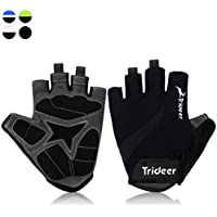 Trideer Half Finger Cycling Gloves Biking Gloves MTB Gloves, Gel Padded, Anti-slip Glove for Road Racing Bicycle, for Men, Women, Ladies, Female (Pair)