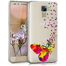 kwmobile Funda para Huawei Honor 7 / Honor 7 Premium - Case para móvil en TPU silicona - Cover trasero Diseño enjambre de mariposas en multicolor rosa fucsia transparente