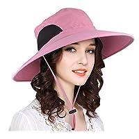 EINSKEY Sombrero Mujer Playa de ala Ancha de Verano Plegable Sombrero Pesca Impermeable (Azul/Rosa)