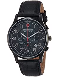 Swiss Military Patriot Men's Quartz Watch with Black Dial Chronograph Display and Black Leather Strap 6-4187.13.007