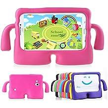 Muze - Funda protectora para Samsung Galaxy Tab 3P3200T230T211T210, goma, espuma EVA, a prueba de golpes, con asas, resistente, para niños, rosa roja, 7 pulgadas