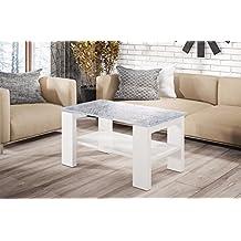 Endo Couchtisch Kenya Wohnzimmertisch Tisch Crashglas 100x60cm Ablage Glastisch Glas Weiss Matt