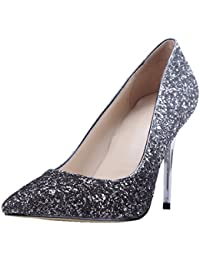 55777908f7f0 HooH Women Pumps Pointed Toe Sequins Gradient High Heel 9.5 CM Wedding Pumps  Slip On